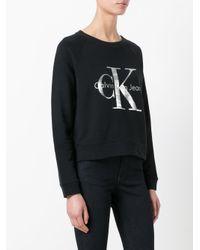 Calvin Klein Jeans - Black Metallic Logo Sweatshirt - Lyst