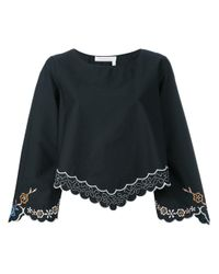 See By Chloé | Black Floral Embroidered Blouse | Lyst