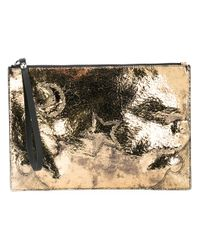 McQ | Metallic Zip Clutch Bag | Lyst