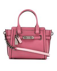 7c6c8dbe1e COACH Bolsa De Couro Glovetanned Modelo 'swagger 21' in Pink - Lyst