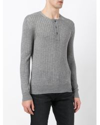 Tom Ford - Gray Ribbed Buttoned Jumper for Men - Lyst