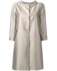 Armani | Natural Metallic Concealed-placket Coat | Lyst