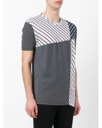 Loewe - Blue Panelled Striped T-shirt for Men - Lyst