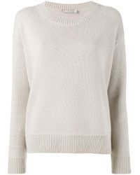 VINCE | Natural Crew Neck Ribbed Sweater | Lyst