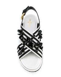 Car Shoe - White Cross-over Embellished Sandals - Lyst