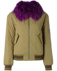 Army by Yves Salomon | Green Fur Trim Bomber Jacket | Lyst