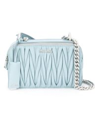 Miu Miu | Blue Matelassé 'little' Bag | Lyst