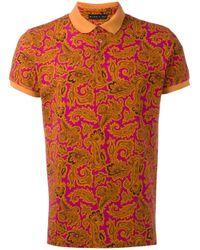 Etro   Orange - Paisley Print Polo Shirt - Men - Cotton - S for Men   Lyst