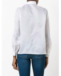 M Missoni | White Buttoned Shoulder Sheer Shirt | Lyst