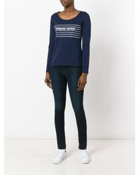 Armani Jeans - Blue Printed Knitted Top - Lyst