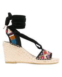 Ash | Black - Paola Wedge Sandals - Women - Cotton/straw/rubber - 36 | Lyst