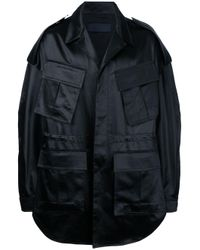 Juun.J | Black Oversized Military Coat With Text Detail for Men | Lyst