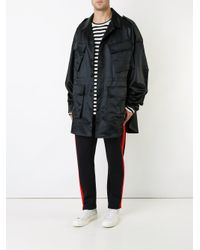 Juun.J - Black Oversized Military Coat With Text Detail for Men - Lyst