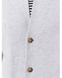 Eleventy - Gray Ribbed Collar Cardigan for Men - Lyst