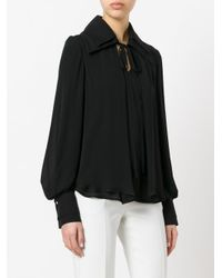 Plein Sud - Black Drawstring Neck Top - Lyst