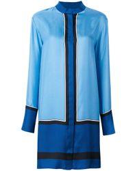 Diane von Furstenberg | Blue Mandarin Neck Shirt Dress | Lyst