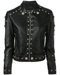 John Richmond | Black Floral Studded Biker Jacket | Lyst