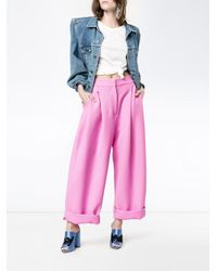 Natasha Zinko - Bubblegum Pink Turn-up Carrot Trousers - Lyst