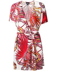 Just Cavalli   Red - Snake Print Wrap Dress - Women - Viscose - 40   Lyst
