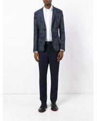 Emporio Armani - Gray Geometric Pattern Blazer for Men - Lyst