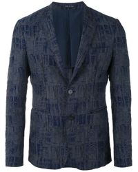 Emporio Armani | Gray Geometric Pattern Blazer for Men | Lyst