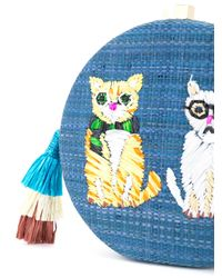Serpui - Blue Embroidered Cat Shoulder Bag - Lyst