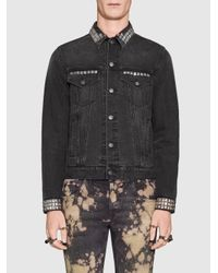 Gucci - Black Denim Jacket With Embroideries for Men - Lyst