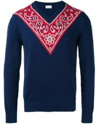 Moncler - Blue Paisley Panel Jumper for Men - Lyst