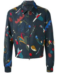 Ferragamo - Blue Printed Jacket for Men - Lyst