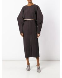 Jil Sander - Brown Cocoon Sleeves Ribbed Dress - Lyst