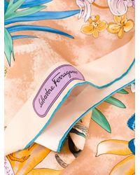 Ferragamo - Blue Printed Scarf - Lyst