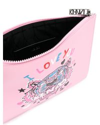 KENZO - Pink 'i Love You' Tiger Clutch - Lyst