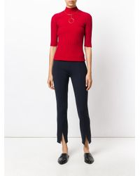 The Row - Blue Lana Wooltwill Straight Leg Pants - Lyst