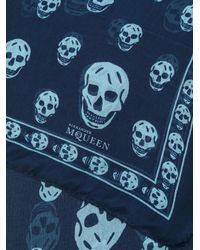 Alexander McQueen - Blue Skull Scarf for Men - Lyst