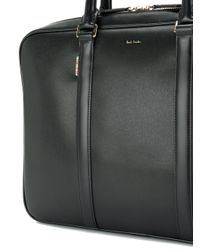 Paul Smith - Black Logo Stamp Zipped Briefcase for Men - Lyst