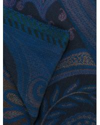 Etro - Blue Floral Pattern Scarf for Men - Lyst