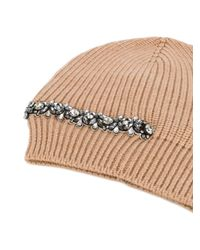 N°21 - Natural Crystal Embellished Beanie - Lyst