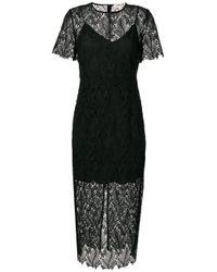 Diane von Furstenberg   Black Overlay Midi Dress   Lyst