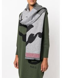 KENZO - Gray Signature Scarf - Lyst