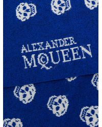 Alexander McQueen - Blue Skull Print Socks for Men - Lyst