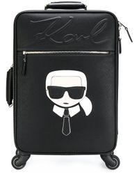 Karl Lagerfeld | Black Karl Four Wheel Suitcase | Lyst