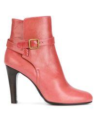 Michel Vivien - Pink Buckle Strap Detail Ankle Boots - Lyst