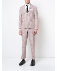 Thom Browne | Mid-rise Unconstructed Backstrap Trouser In Hopsack Check Double Woven Wool Crepe With Red for Men | Lyst