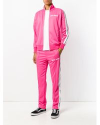 Palm Angels - Pink Zip Up Logo Sweater for Men - Lyst