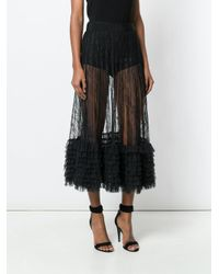 Amen - Black Ruffle Trim Sheer Midi Skirt - Lyst