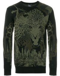 Marcelo Burlon | Black Leopard Intarsia Knit Jumper for Men | Lyst