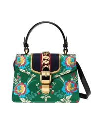 f755771bcf1 Gucci Sylvie Floral Jacquard Mini Bag in Green - Lyst