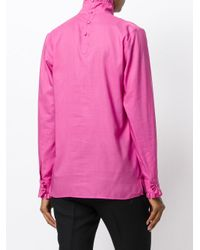 Gucci - Pink High Collar Shirt With Ruffle Trim - Lyst