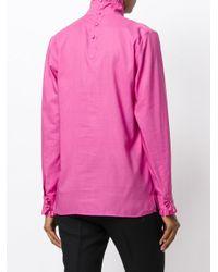 Gucci - Pink High Collar Shirt With Ruffle Trim - Lyst