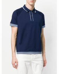 Prada - Blue Contrast Piped Polo Shirt for Men - Lyst